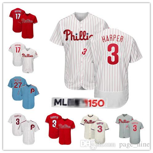 17f675833 2019 3 Bryce Harper Philadelphia Jerseys 17 Rhys Hoskins 27 Aaron Nola  Phillies Very Popular jersey Embroidery Logos Cheap From Page_nine, $23.96  | DHgate.