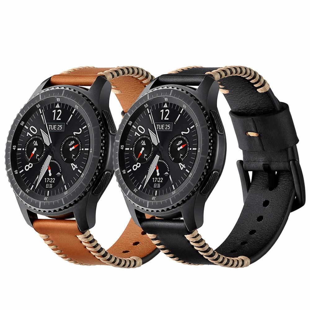 f23fda51550 22mm Leather Strap For Samsung Galaxy Watch 42mm 46mm  Gear S3  Frontier Classic Bracelet Wristband Smart Watch Replacement Belt Luxury Watch  Straps Watch ...