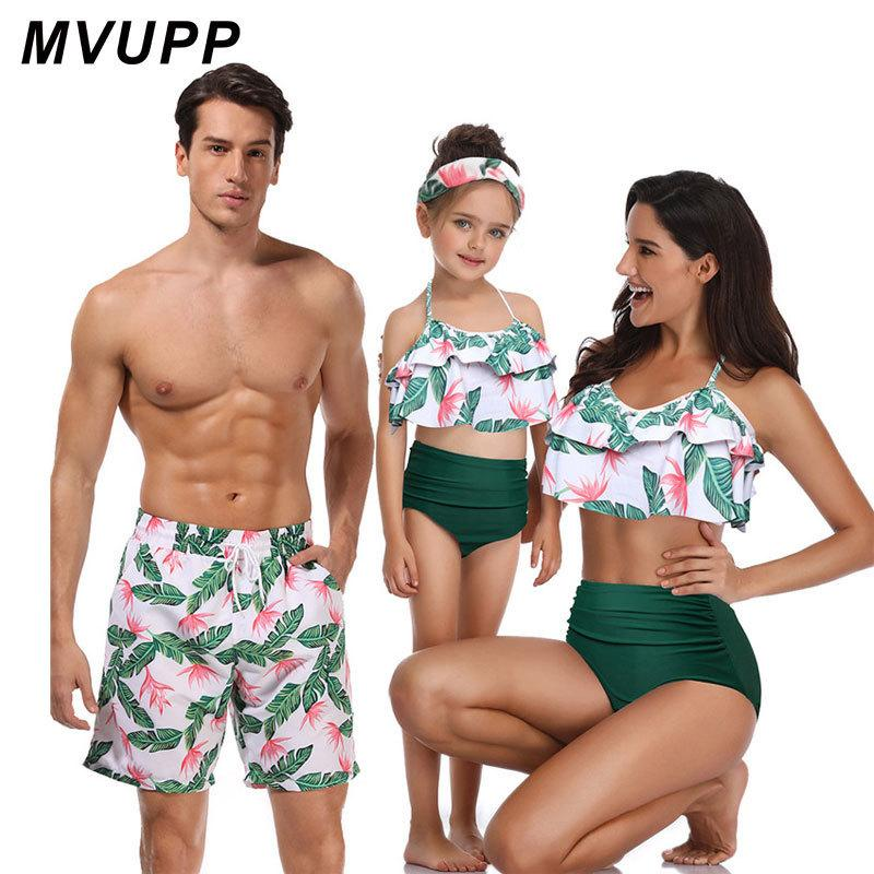 2133323bd1 Family Matching Swimwear Beachwear Mommy And Me Swimsuit Mother ...