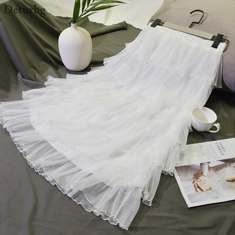 d4d74517945 2019 Womens Sweet 7 Layers Tiered Midi Skirt Female Korean Casual High  Waist Pleated Gauze Chic White Tulle Skirts 2019 Spring SK282 From  Chongyangclothes
