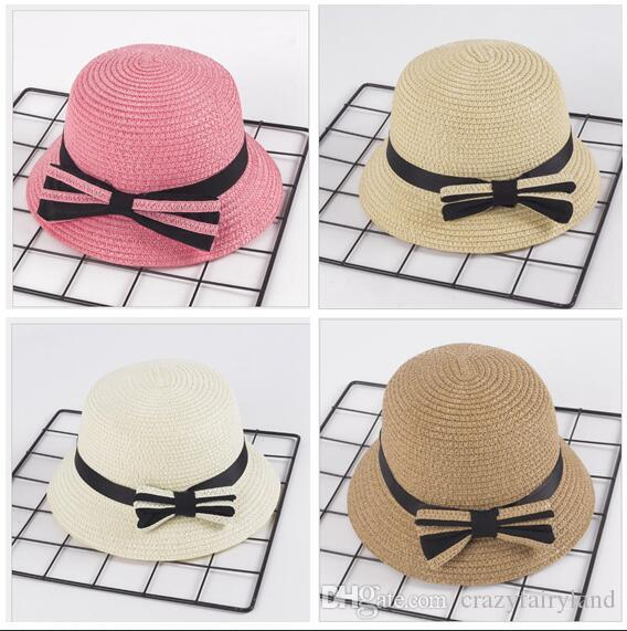 84ab52dacc7 2019 Summer Kids Straw Hats Wide Brim Bowknot Breathable Hat ...