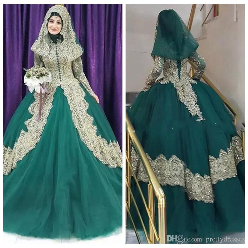 Acheter 2019 Modest Turc Islamique Robe De Bal Robe De Mariage Corset  Retour Robe De Mariage En Dentelle Dorée Applique Hijab Dubaï Kaftan  Musulman Robes De
