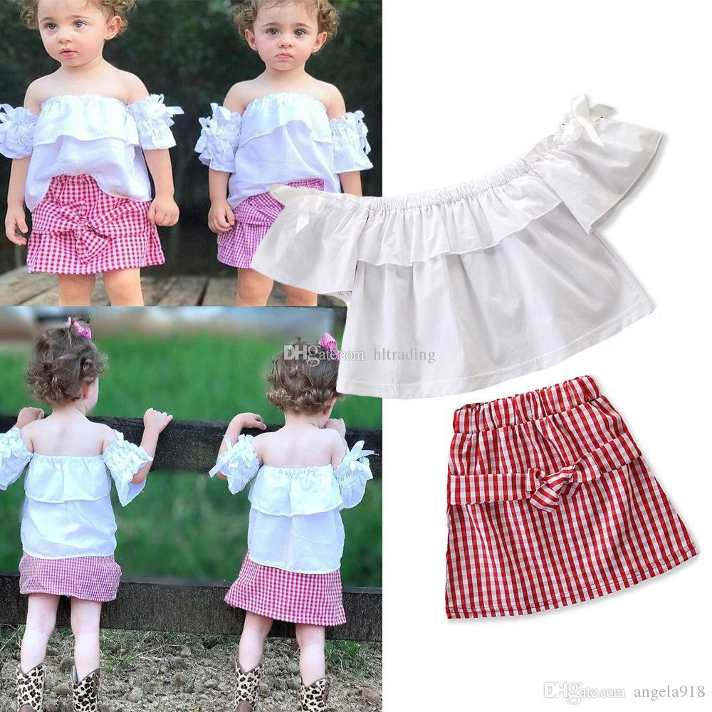 1ef4611723b3 2019 Baby Girls Plaid Outfits Children Off Shoulder Top+Lattice Skirts 2019  Summer Fashion Boutique Kids Clothing Sets C6180 From Angela918