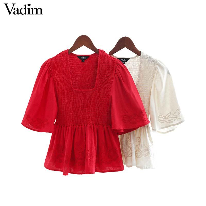 Vadim women elegant crop tops elastic embroidery hollow out design flare sleeve backless pleated shirts female chic blusas DA392