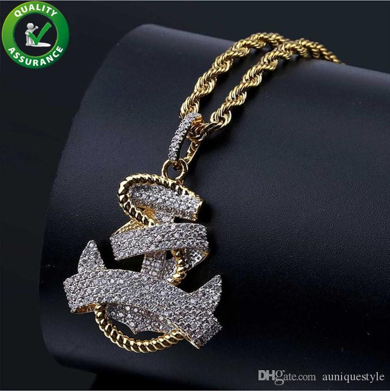 401fa0b3ac238 Iced Out Chains Pendant Designer Necklace Hip Hop Jewelry Mens Vintage  Anchor Pendant Diamond Luxury Cuban Link Wedding Pandora Style Charms