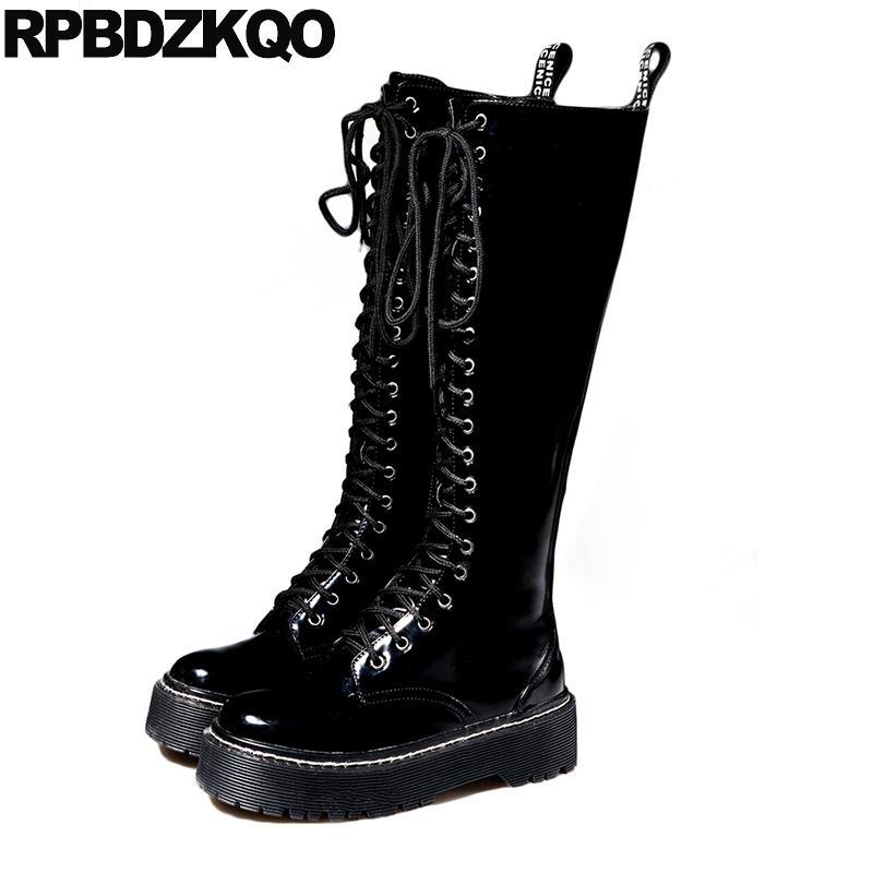 Großhandel Damen Wasserdichte Stiefel Lackleder Lange Schuhe