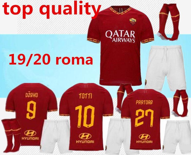 quality design 77001 9981a new 19/20 as roma SOCCER Jerseys adult KIT TOTTI DE ROSSI home away DZEKO  EL Shaarawy 2019 2020 roma football soccer Jerseys SET