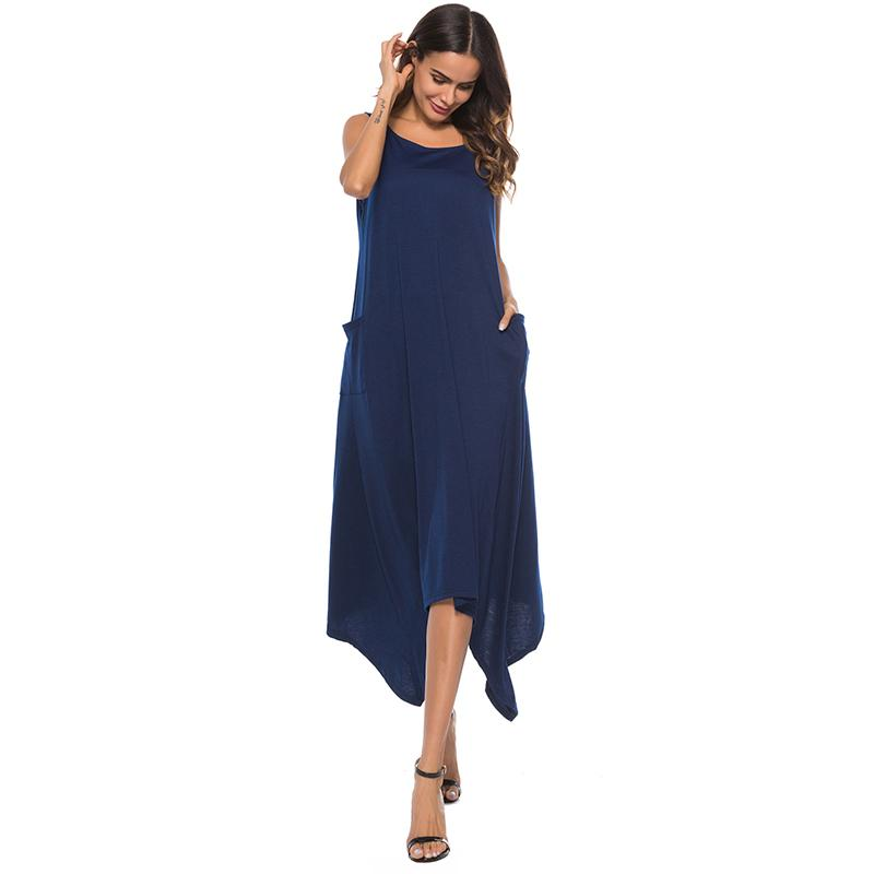 e786296fbe7f2 Women Loose Summer Dress 2019 Solid Color Round Neck Sleeveless Plus Size  Dresses Pockets Asymmetric Hemline Casual One Piece Grey Summer Dresses  Black ...