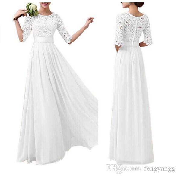 ccbffddbf7cf Discount Long Maxi Half Sleeves Simple Wedding Dresses Jewel Neck Lace  Bodice Cheap Chiffon Skirt Sweep Train Beach Garden Bridal Gowns Custom  Made ...