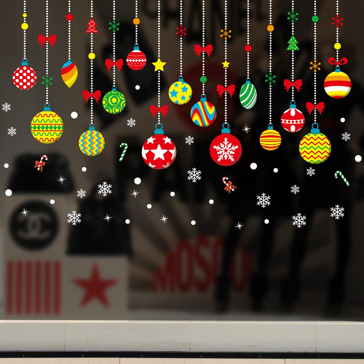 Merry Christmas Window Glass Shop Store Wall Stickers Windows Christmas Decorations Ornaments Wall Stickers