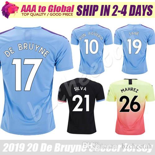Top Thail City jersey 2020 Camisas Home Away Sterling Mahrez Kun Aguero De Bruyne Outdoor Apparel كرة القدم جيرسي قمصان كرة القدم