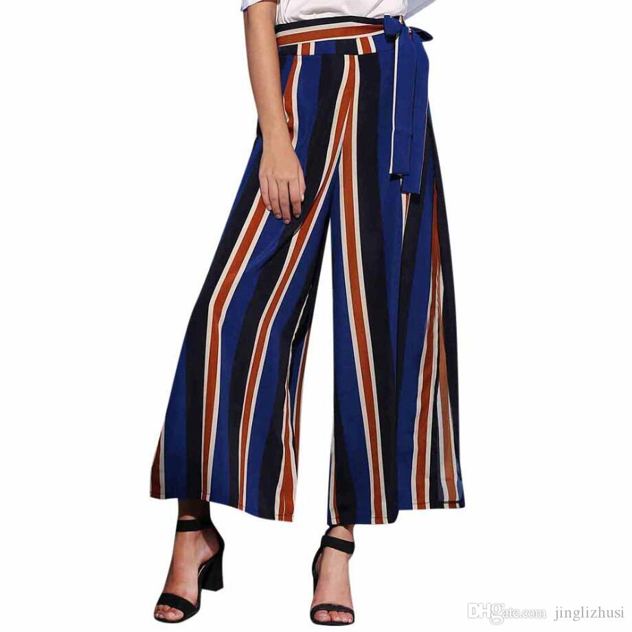 db6d42e1328 2019 Amazon summer explosion models Europe and the United States women s  pants fashion striped sexy slit wide leg pants casual pants women