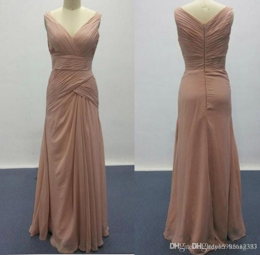 2019 New Real Pictures Dusty Pink Bridesmaid Dresses for Elegant Wedding V Neck Ruffle Design Woman Formal Prom Gowns 871