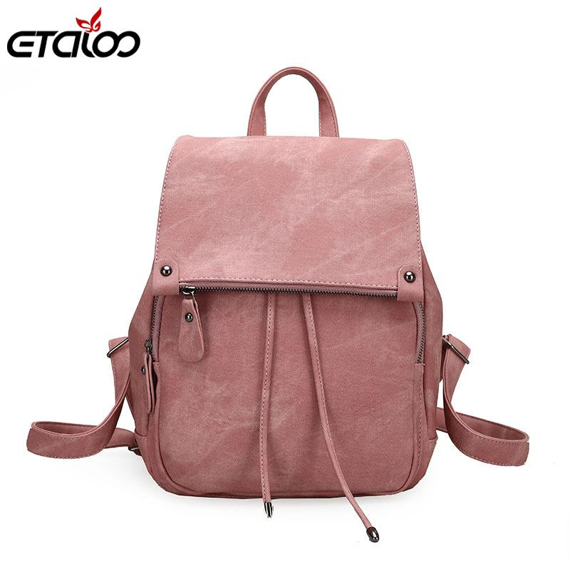 2019 College Wind Backpack Shoulder Bag Pu Leather Women's Bag Fashion Ladies Backpack Mochila Escolar School Bags For Teenagers J190627