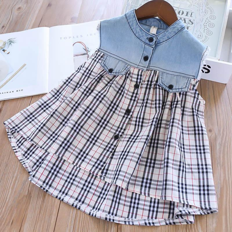 Girls Tops Blouses Girls Shirts kids designer clothes girls Tee Shirts Summer new denim paid kids t shirts kids clothes A5730