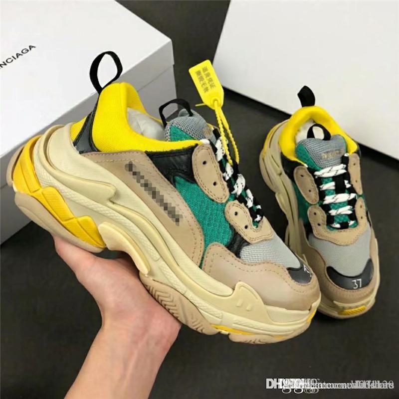 a72894cafb15e New Rare NO.1Balenciaga Triple S Beige Green Yellow Speed Flat Trainer  Sneaker With Box