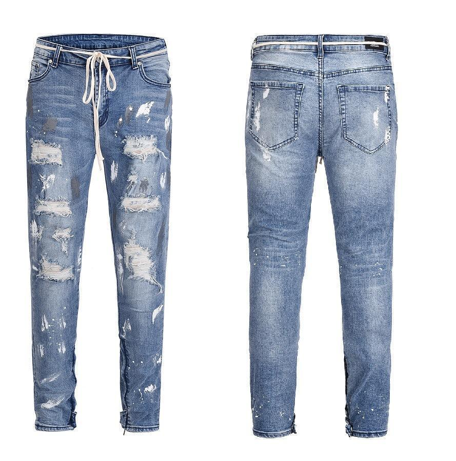 287b98391a2 2019 WholeTide Nice Street Style Water Washing Ripped Jeans Men s New Trend  Splash Ink Small Feet Tight Fitting Type Beggar Pants From Derrick82