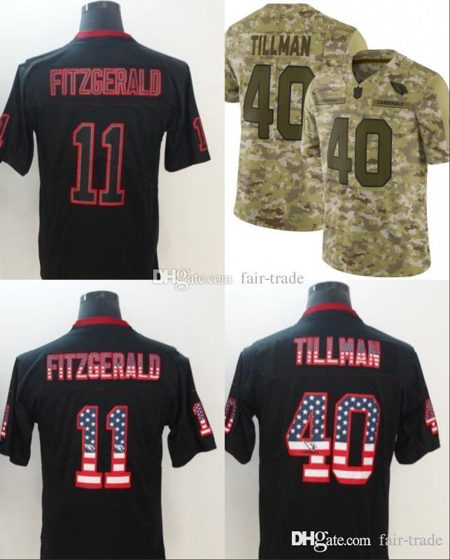 2019 40 Pat Tillman Arizona Jerseys 11 Larry Fitzgerald Cardinals 2018 USA  Flag Fashion Impact Lights Out Black Camo Salute To Service Limited From  Fair ... 10528babf