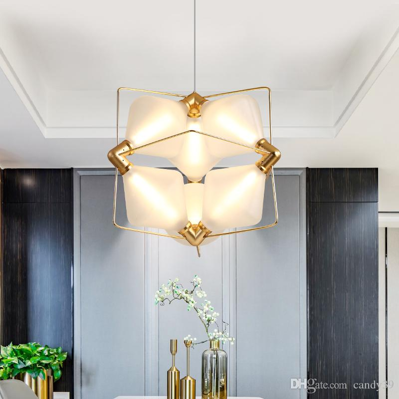 Modern LED Pendant Light Diamond Pendant lamp Frosted Glass Suspension Lamp Study Room Simple Hotel Hall Home lighting G763