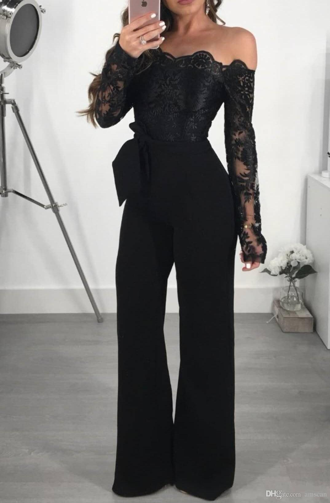 f77af5c5850 2019 Fashion Black Women Jumpsuits Off Shoulder Long Sleeves Special  Occasion Formal Dresses Custom Made Long Evening Prom Party Gowns Cheap  Design A Prom ...