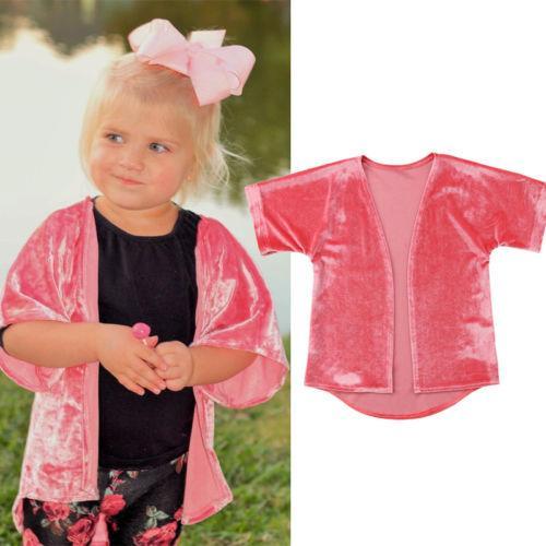6a1e9ad59 2019 AU Stock Kid Baby Girl Velvet Summer Half Sleeve Pink T-shirt ...