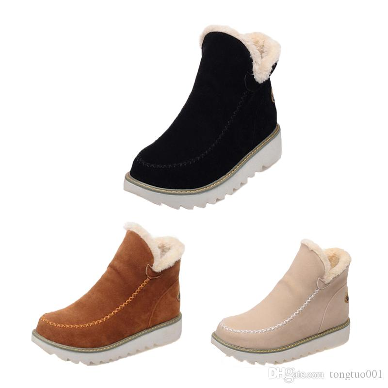 f49466a9fe0 Compre Venta Caliente Zapatos Otoño Invierno Mujer Botas Para La Nieve  Punta Redonda Tobillo Cálido Felpa Botas Para La Nieve Zapatillas Sin  Cordones ...