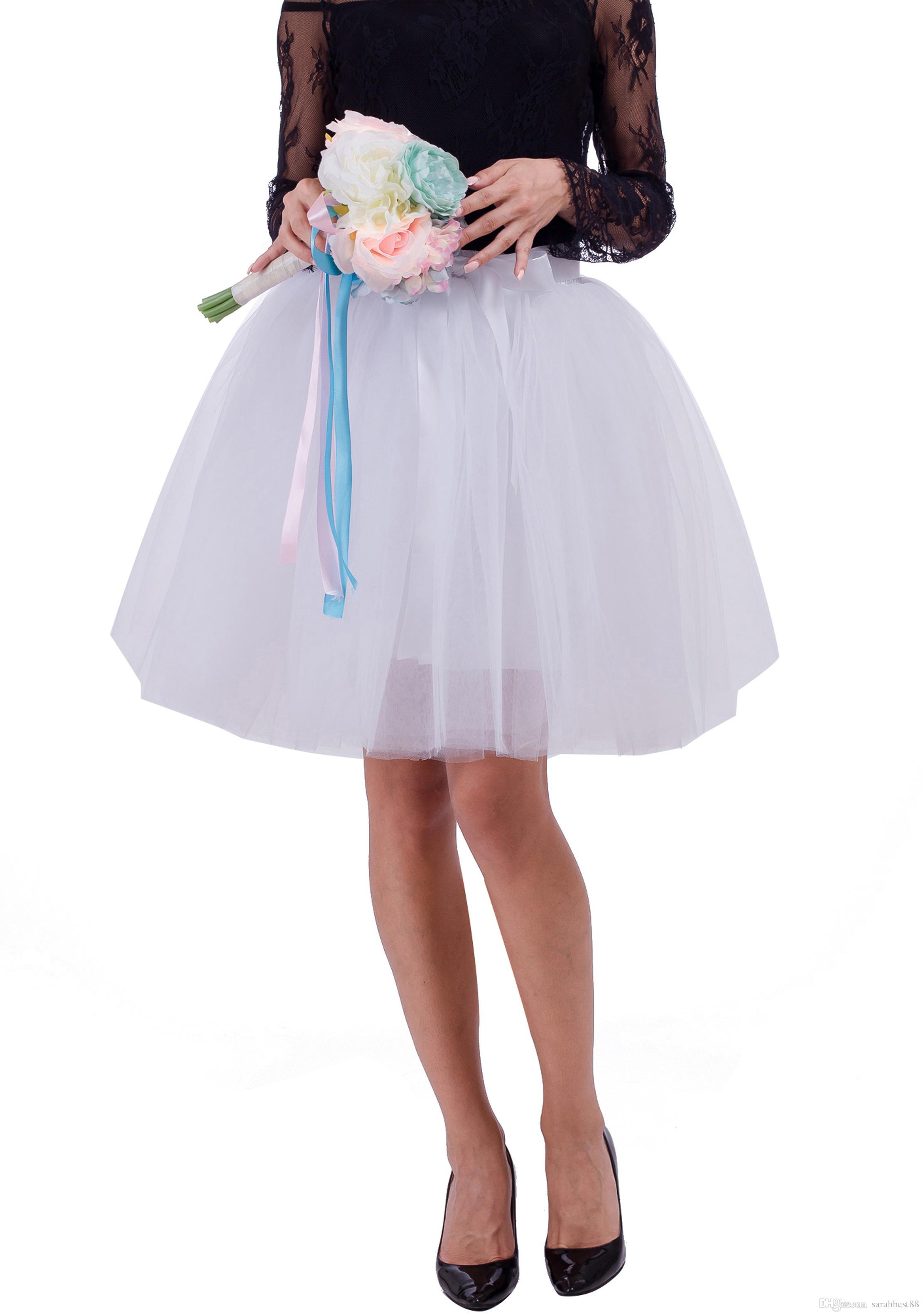 8275768adea081 Femmes Filles Demoiselle D honneur Tulle Jupe Jupon Plissée Taille Haute  Mini Jupe 7 Couches A-Line Tutu Princesse Jupe De Mariage Partie Avec ...