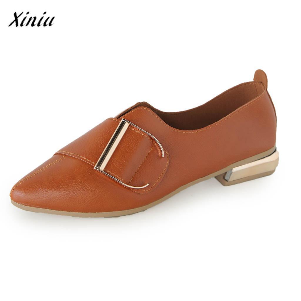 31c284938 Compre Designer De Sapatos De Vestido Xiniu Mulher Casual Ponto Toe Sapato  Raso Trabalho Confortável Barato Senhoras Casuais Nova Slip On Único  Zapatillas ...