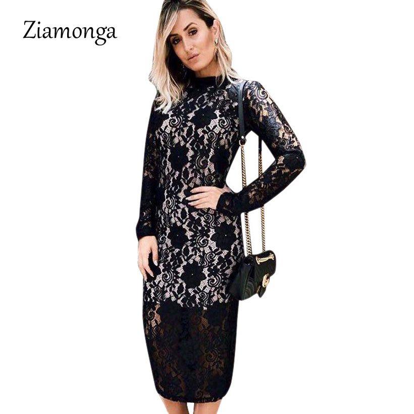 dec68f94bb7e9 Ziamonga Plus Size Sexy Lace Dress Women Party Club Long Sleeve Knee ...