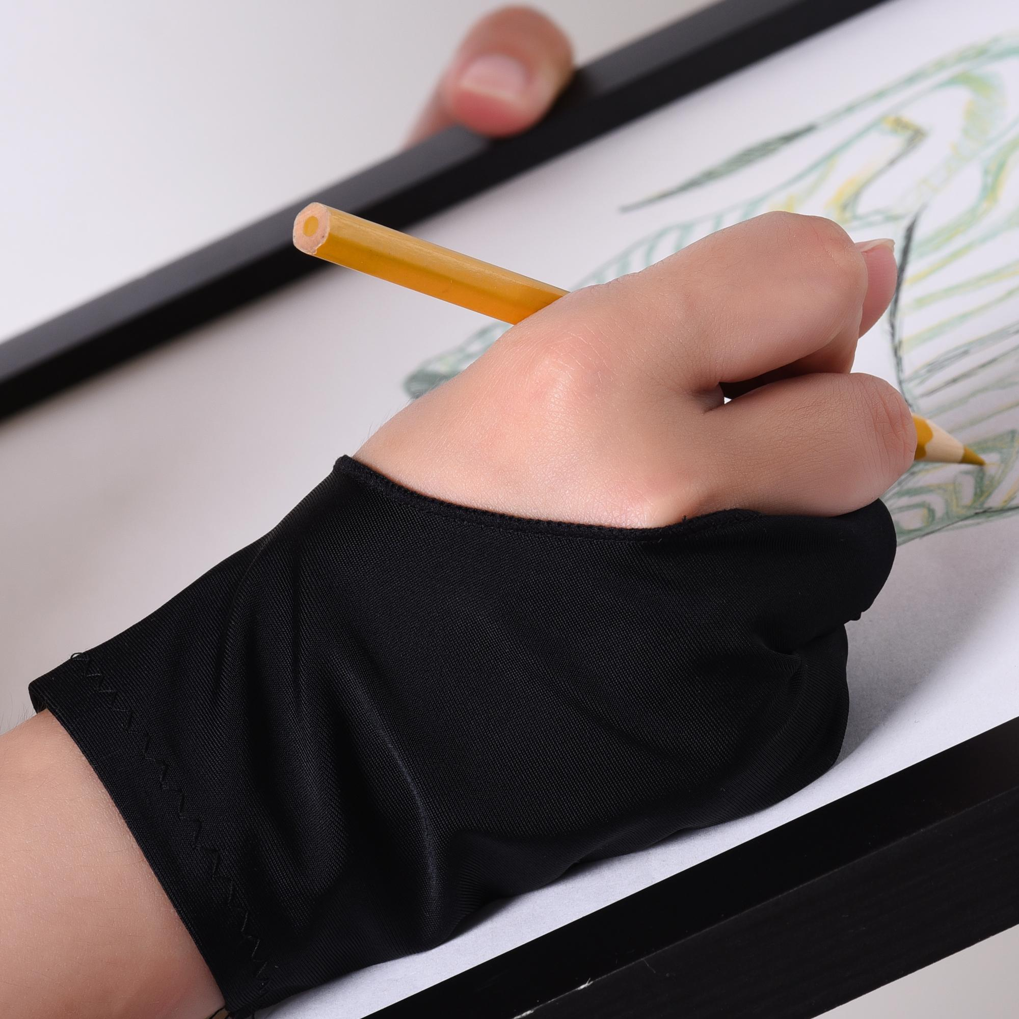 2019 04 Artist Gloves With Two Fingers For Tablet Drawing Light Box