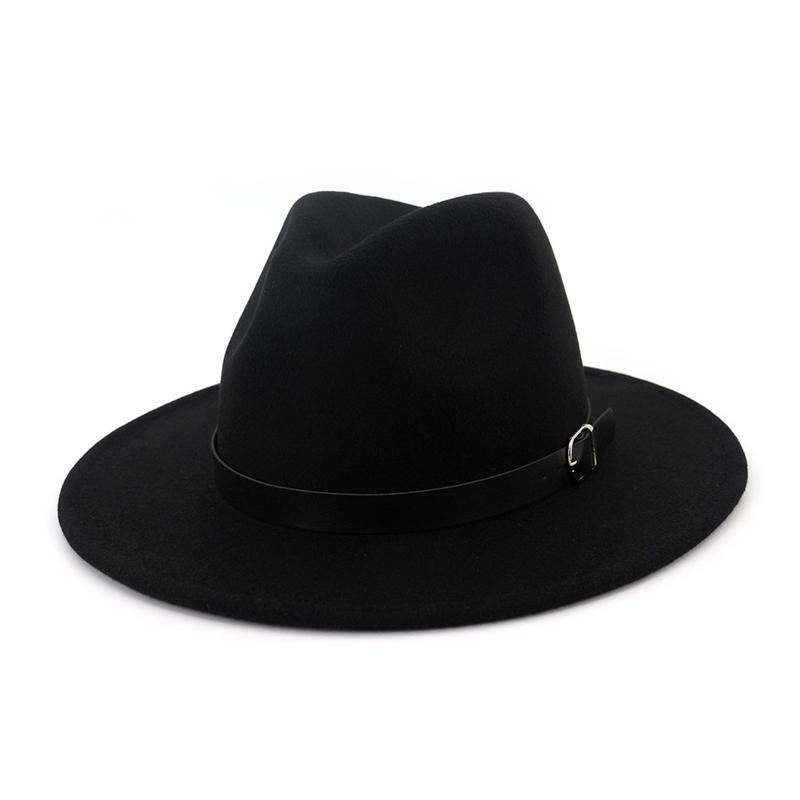 Autumn Winter Plain Dyed Belt Buckle Decorated Trilby Hats Men Women Wool  Felt Jazz Fedora Hat Flat Brim Panama Carnival Cap Hat Boonie Hat Fedoras  From ... 713ac78724e7