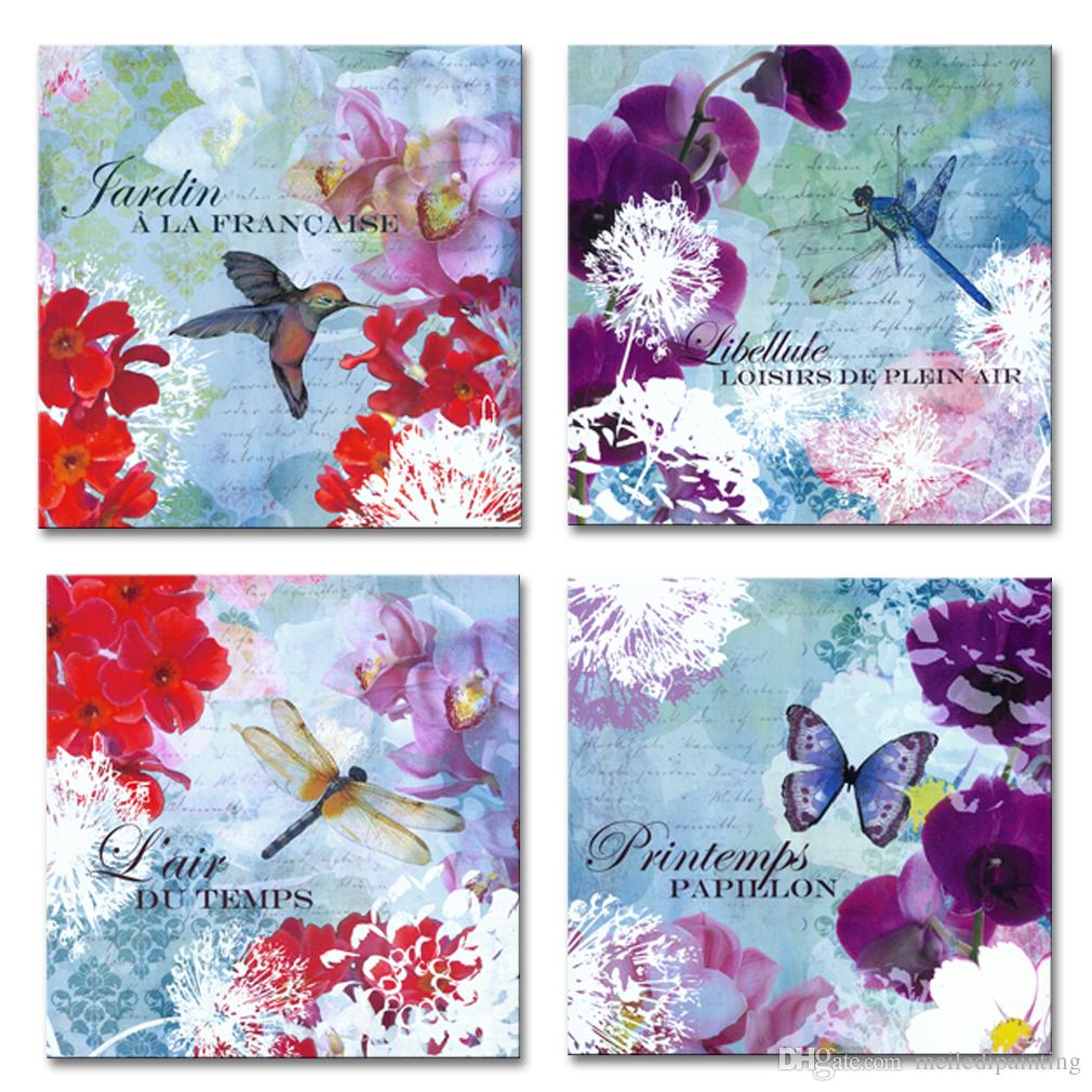 4 Pieces Canvas Prints Wall Art Butterfly Dragonfly Flower Painting With Wooden Framed Art Picture Prints For Home Bedroom Decor Gifts