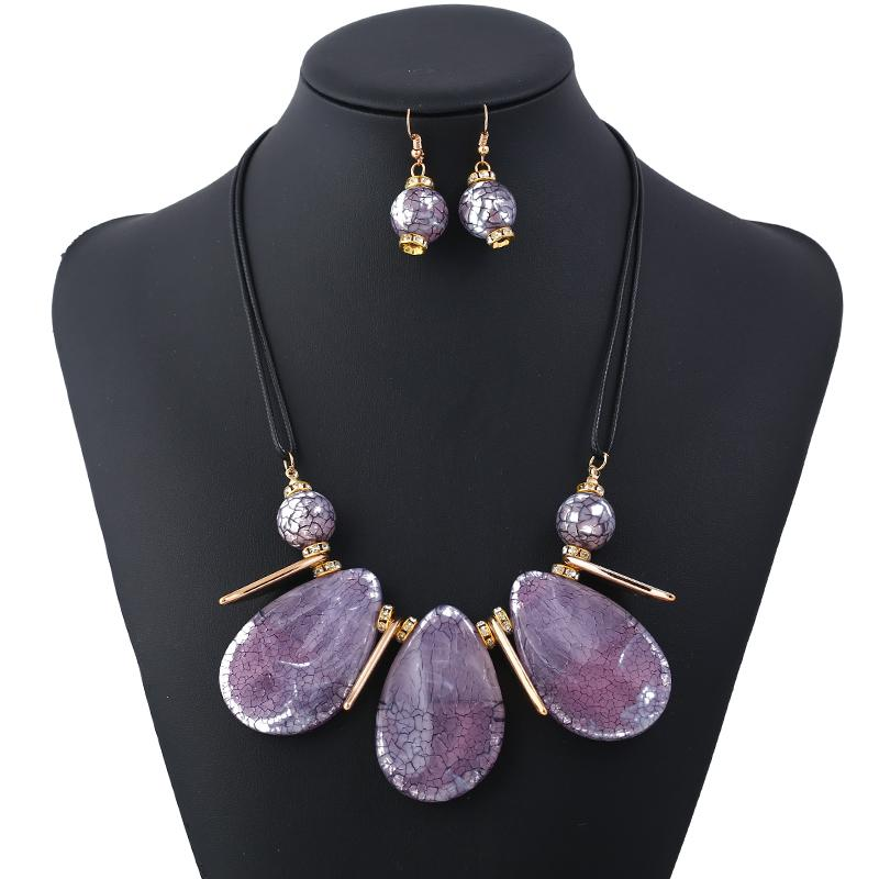 Luxury Jewelry Sets For Women Geometry Pendants Statement Necklaces Earrings Gem Fashion Jewelry Set Wedding Accessories