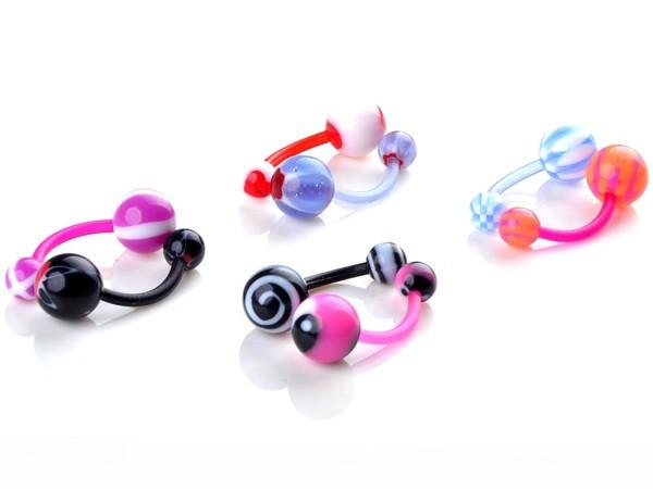 AOMU Wholesale 14G 1.6*10*5/8mm Ball Colorful UV Acrylic Belly Button Ring Ball Barbell Navel Piercing Body Jewelry