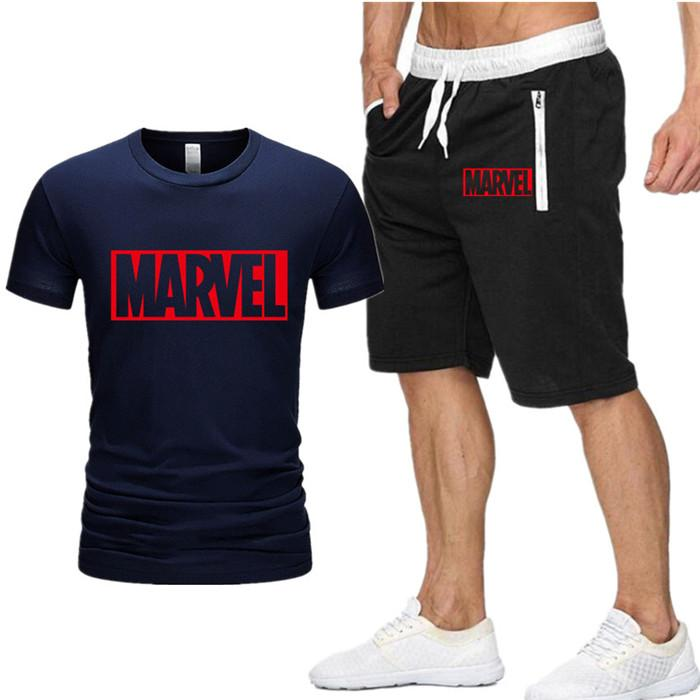 Zweiteiliges Set Herren Marvel Captain America T-Shirt Kurzes Oberteil + Shorts Herren Marvel Trainingsanzüge Neu 2019 Fashion Sportswear Trainingsanzüge D8