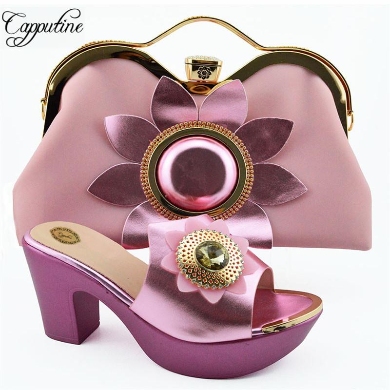 African Summer Rhinestone Pink Color Shoes And Purse Set para fiesta Venta caliente Mujer Tacones altos Wedding Shoes And Bag Set SL003A