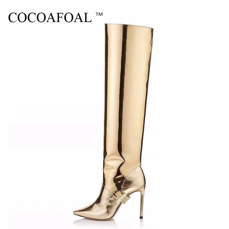 93d67d41257 COCOAFOAL Golden Women s Cowboy Boots Knee High Boots Woman Shoes Sexy  Mid-Calf Cowboy Pointed Toe Straight 2019