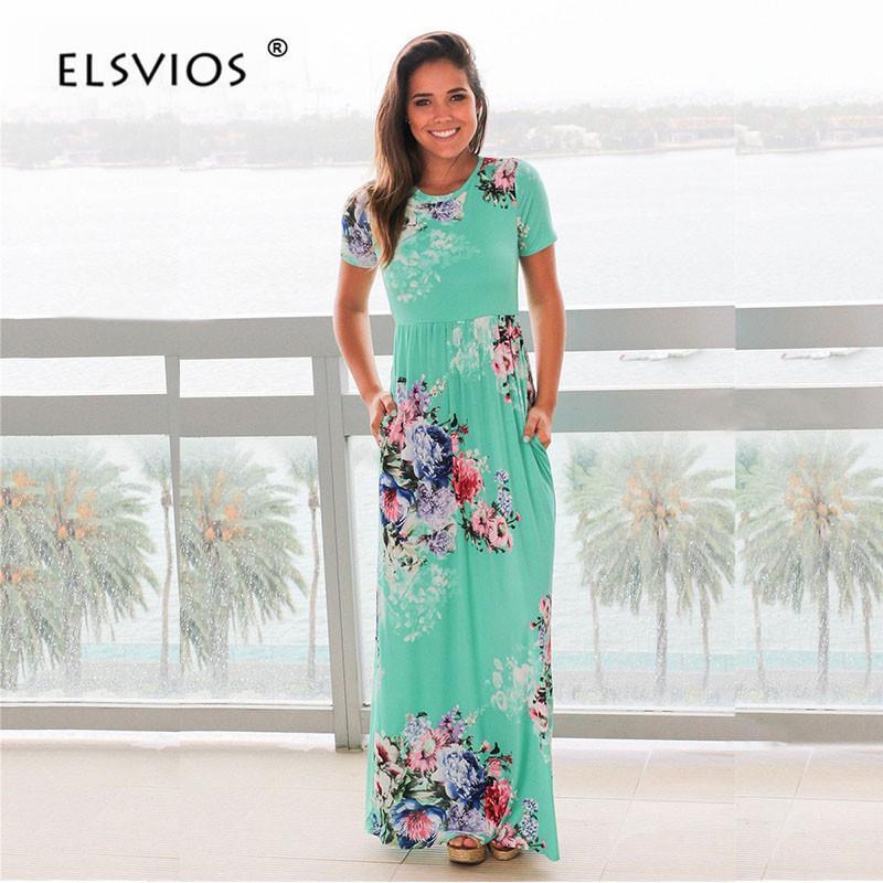 c25583576 Compre Elsvios Mujeres Bohemia Estampado Floral Vestido De Verano ...