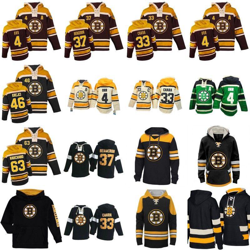 buy popular 891e0 f7147 Mens Womens Youth Boston Bruins Hoodies Jersey 4 Bobby Orr 37 Patrice Berg  eron 46 David Krejci 63 Brad Marchand Custom Hockey Jerseys