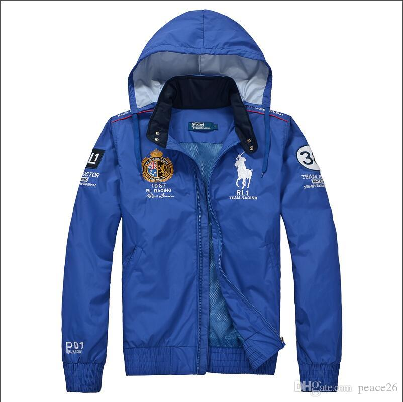 brand new 9c8c9 7b389 Fashion Men s Outerwear Coats POLO Ralph Lauren Jackets Hooded Jacket  Abrigo La chaqueta Women Casual Sports Jackets giacca Windbreake