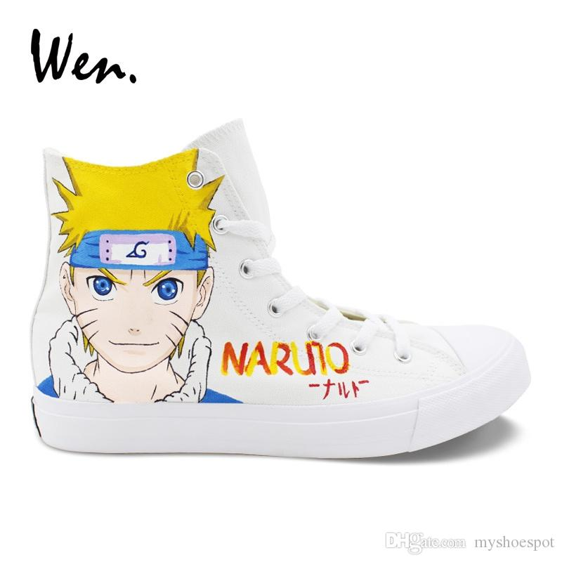 ebbdaf1c2a8384 Wen Naruto Uzuma Hand Painted Canvas Shoes White Top High Sneakers Boy Girl  Cosplay Shoes Lacing Espadrilles Flat Plimsolls  239094 Casual Shoes For  Men ...