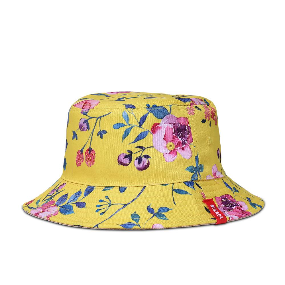 be901ff1dc1 3D Floral Print Flat Top Bucket Hat Hawaii Hat Cap Summer Sun Cap Fisherman  Hat 9 Colour Select Hats In The Belfry Knit Hats From Angel clothing