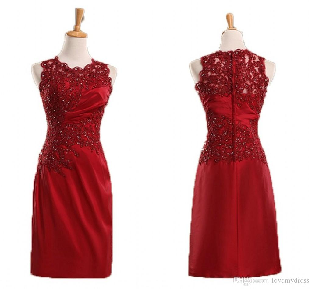 57574a5361 Dark Red Sheath Evening Dresses For Women Formal Pearls Applique Beaded  Sequin Pleats Mother Of The Bride Special Occasion Dress Robes Cheap