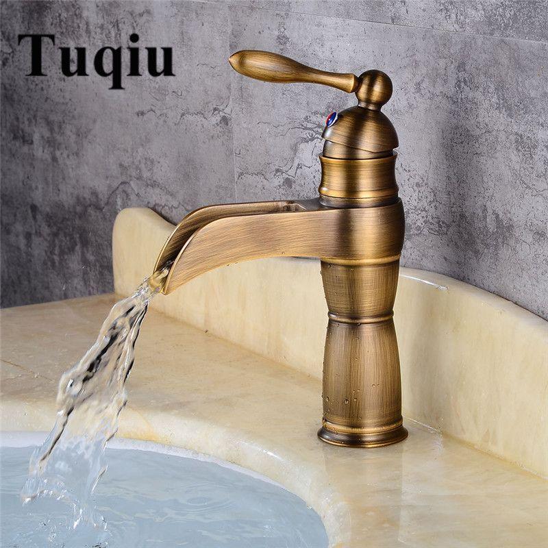 2019 Antique Bronze Waterfall Bathroom Faucet Bathroom Basin Mixer