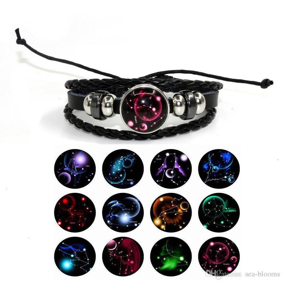 Free DHL 12 Zodiac Constellation Glass Cabochon Bracelet Handmade Leather  Multilayer Bracelets Bangle Cuff Adjustable DIY Jewelry G291S F