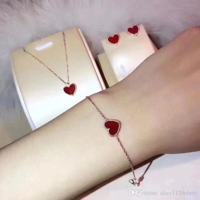 Pure 925 Sterling Silver Jewelry romantic Red Heart necklace Earrings Bracelet Set jewelry for women girl wedding Christmas party jewelry