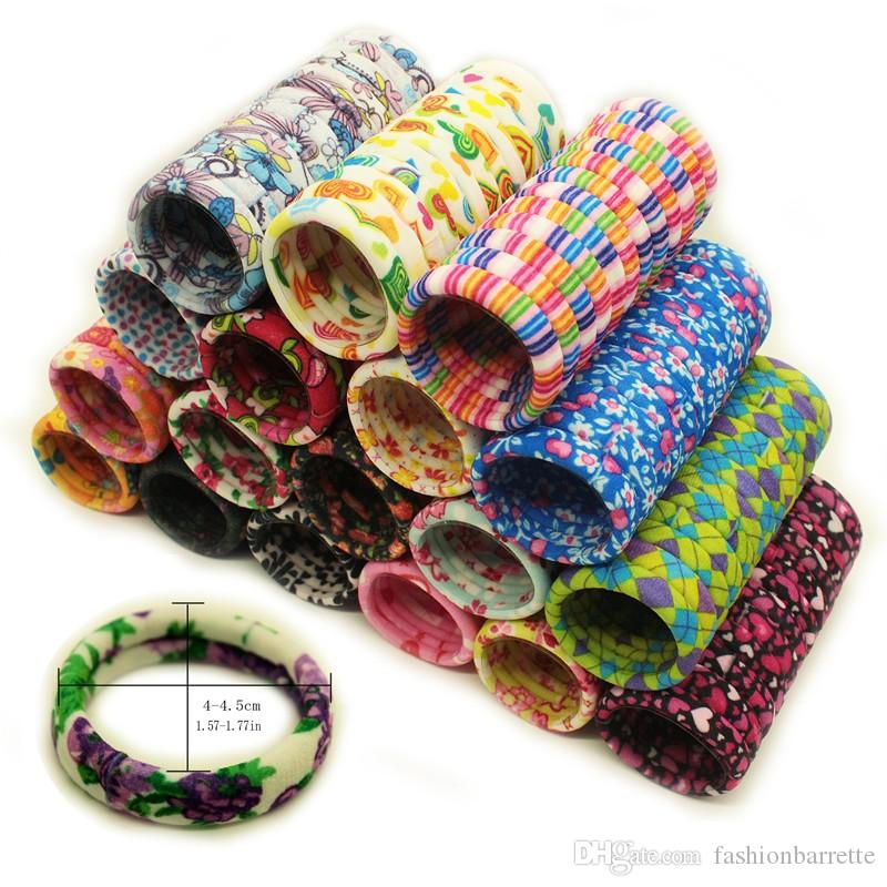 20pcs/bag Gum ties Flowers Elastic hair bands Headwear Hair accessories Cartoon Print scrunchy women girls Scrunchy