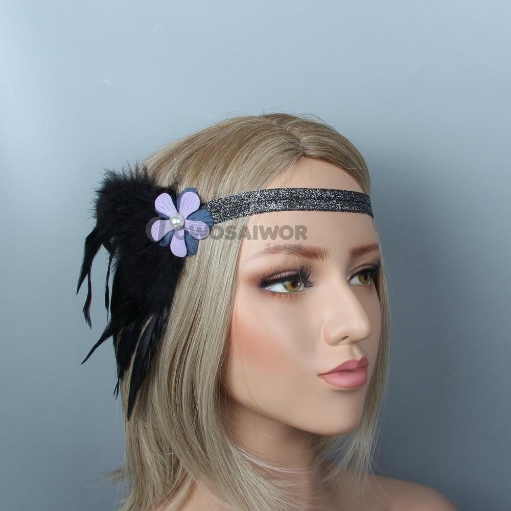 New Women Beautiful Flower Headband Dress Belt Adjustable Purple Flower Hair Accessories Black Feather Bride Decoration