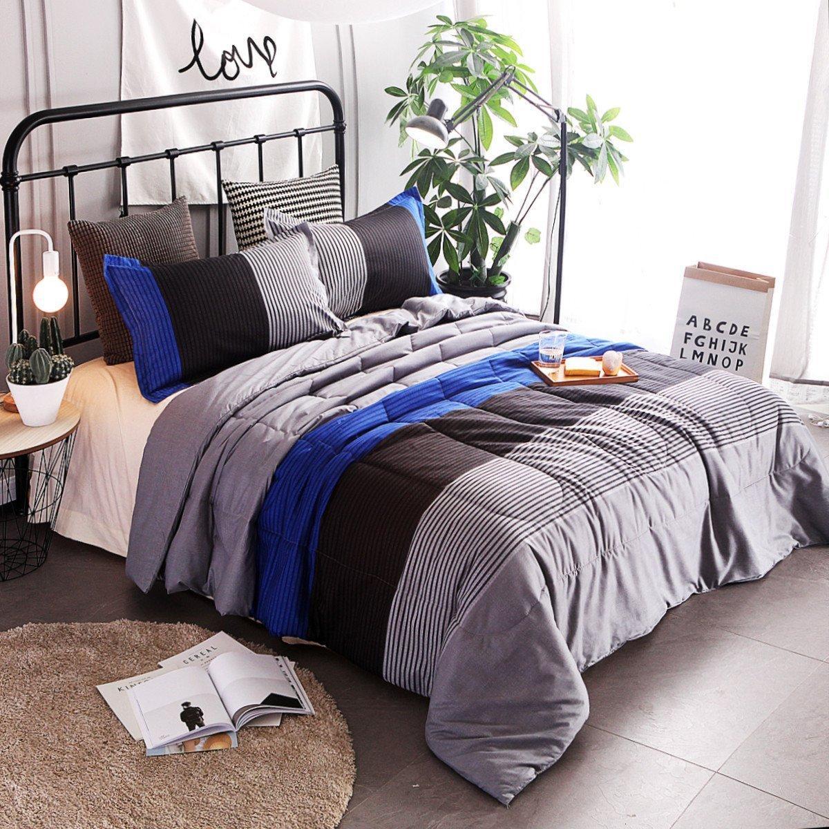 Queen Comforter Sets.Winlife 3 Piece Striped Quilt Set Boys Bedspreads Coverlet Sets Comforter Sets Queen