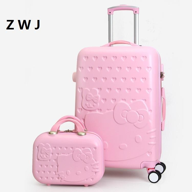 Lovely 20 24 28 Inch With 14inch Cosmetic Bag Hello Kitty Luggage Girl  Women And Children KT Cat Travel Case Carry Bags Toiletry Bags From  Shoesbuddy c50727cc7f8ce